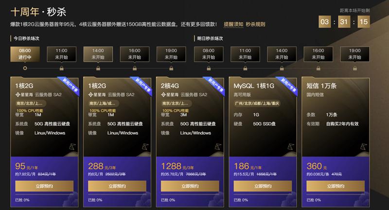 腾讯云十周年 95元购买1年服务器 288元购买3年服务器-90咸鱼网