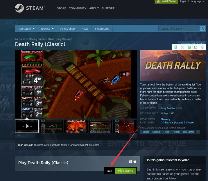 Steam免费领取Death Rally (Classic)-90咸鱼网