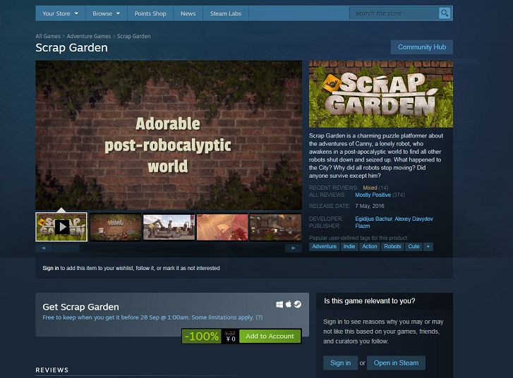 Steam免费领取Scrap Garden(拾荒花园)-90咸鱼网